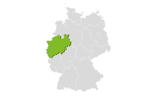 Germany's state area in grey with the area of North Rhine Westphalia highlighted in light green.