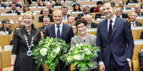 Group photo of Ursula Gather, Donald Tusk, Rita Süssmuth and Christoph Schuck