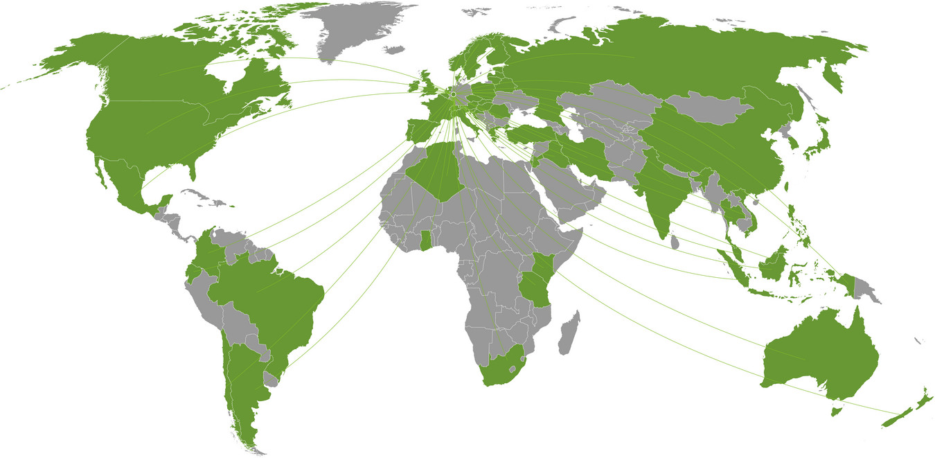 Graphic design of a green and grey world map. Countries with universities that cooperate with TU Dortmund University are shown in green.