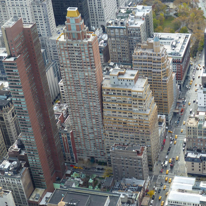 Aerial view of skyscrapers in Manhattan