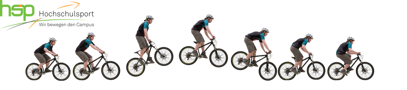 Logo of TU Dortmund University Sports and photos of a cyclist doing a jump