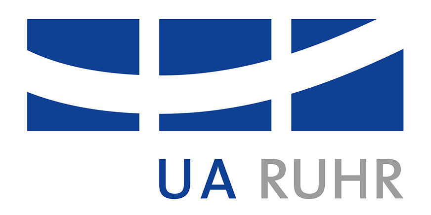 "Three blue squares crossed by a white curved line and the words ""UA Ruhr"""