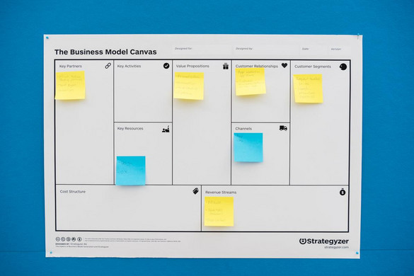 A large timetable covered with yellow and blue sticky notes