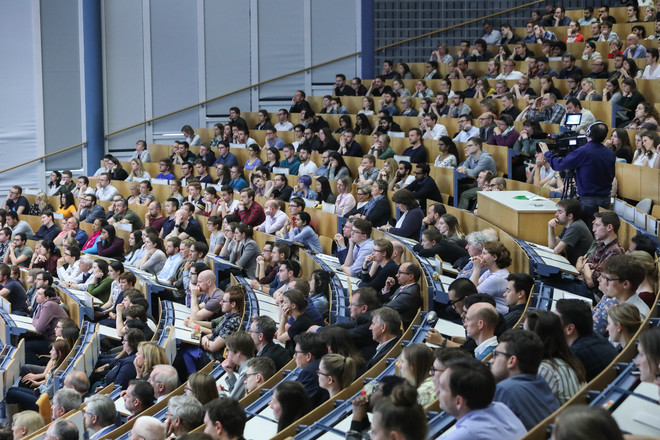 A full lecture hall.