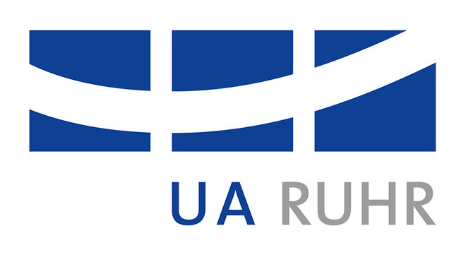 "Three dark blue squares crossed by a white bent line and below the inscription ""UA Ruhr"""