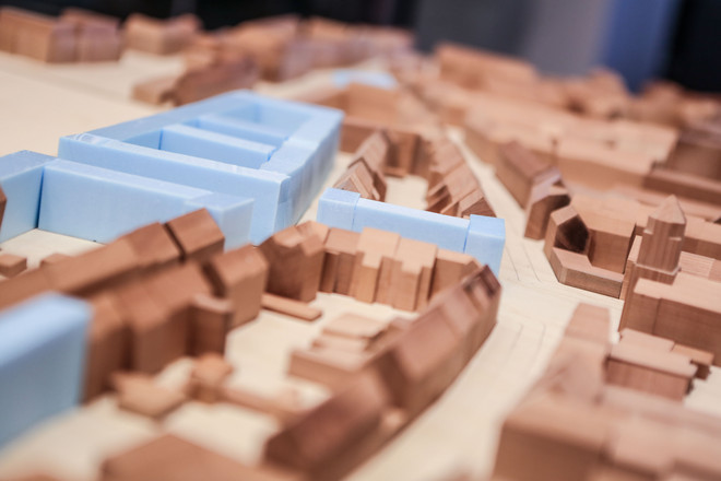 Detail view of a city model made of wood